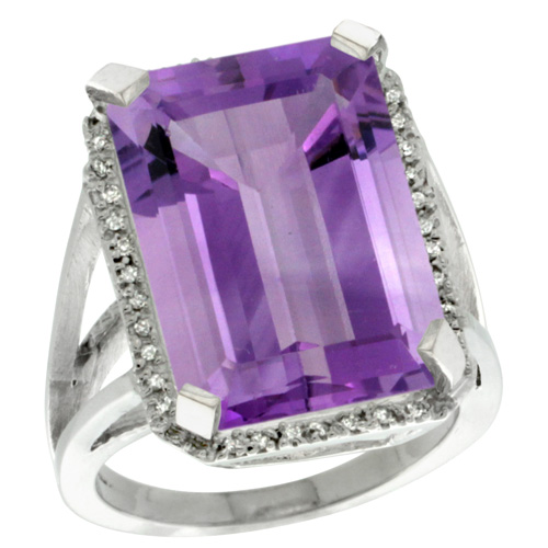 Sabrina Silver 14k White Gold Diamond Amethyst Ring 14.96 ct Emerald shape 18x13 mm Stone, 13/16 inch wide, size 8 at Sears.com