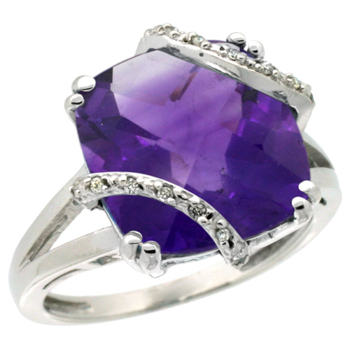 Sabrina Silver 14k White Gold Diamond Amethyst Ring 7.5 ct Cushion Cut 12 mm Stone, 1/2 inch wide, size 7.5 at Sears.com