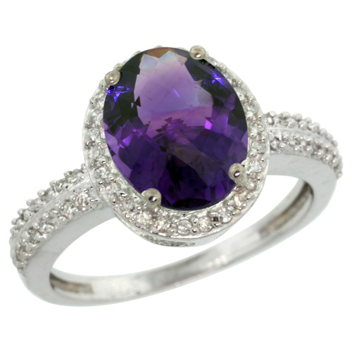 Sabrina Silver 14k White Gold Diamond Amethyst Ring Oval Stone 10x8 mm 2.4 ct 1/2 inch wide, size 9 at Sears.com