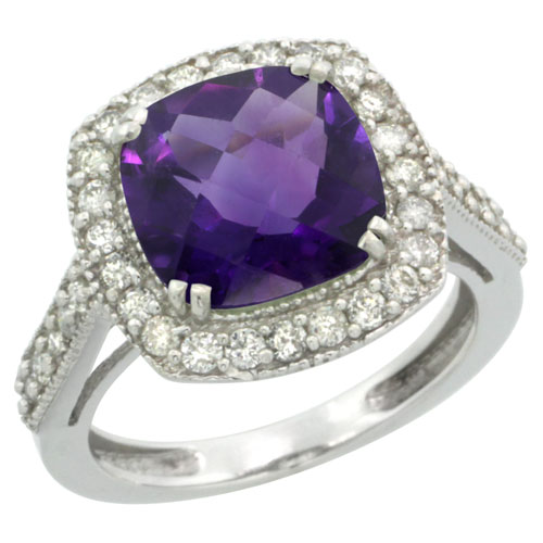 Sabrina Silver 14k White Gold Diamond Halo Amethyst Ring Checkerboard Cushion 9 mm 2.4 ct 1/2 inch wide, size 5.5 at Sears.com
