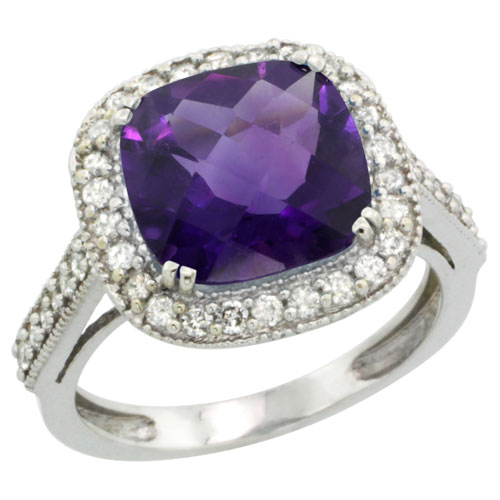 Sabrina Silver 14k White Gold Diamond Halo Amethyst Ring Cushion Shape 10 mm 4.5 ct 1/2 inch wide, size 7 at Sears.com
