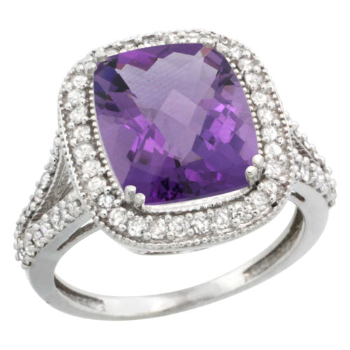 Sabrina Silver 14k White Gold Diamond Halo Amethyst Ring Checkerboard Cushion 12x10 4.8 ct 3/4 inch wide, size 5.5 at Sears.com