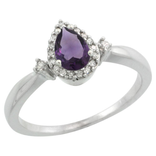 Sabrina Silver 14k White Gold Diamond Amethyst Ring 0.33 ct Tear Drop 6x4 Stone 3/8 inch wide, size 8 at Sears.com