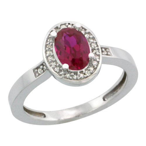 Sabrina Silver 14k White Gold Diamond High Quality Ruby Ring 1 ct 7x5 Stone 1/2 inch wide, size 6.5 at Sears.com