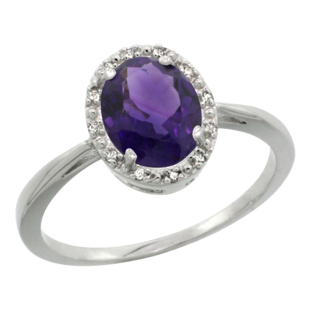 14K White Gold Natural Amethyst Diamond Halo Engagement Ring Oval 8X6mm, sizes 5-10