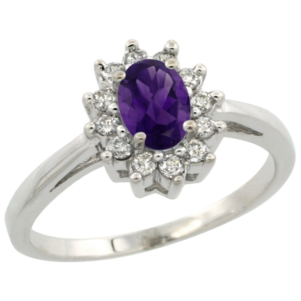 10K White Gold Natural Amethyst Flower Diamond Halo Ring Oval 6x4 mm, sizes 5-10