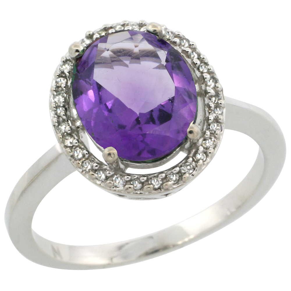 14K White Gold Diamond Halo Natural Amethyst Engagement Ring Oval 10X8 mm, sizes 5-10