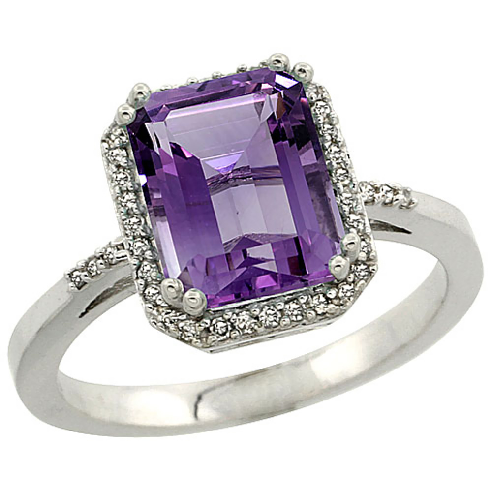 10K White Gold Diamond Natural Amethyst Ring Emerald-cut 9x7mm, sizes 5-10