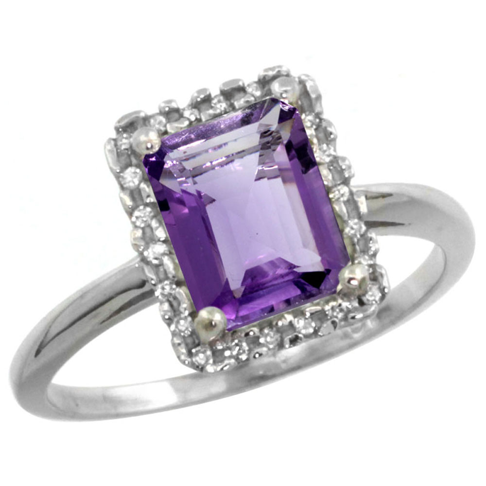14K White Gold Diamond Natural Amethyst Ring Emerald-cut 8x6mm, sizes 5-10