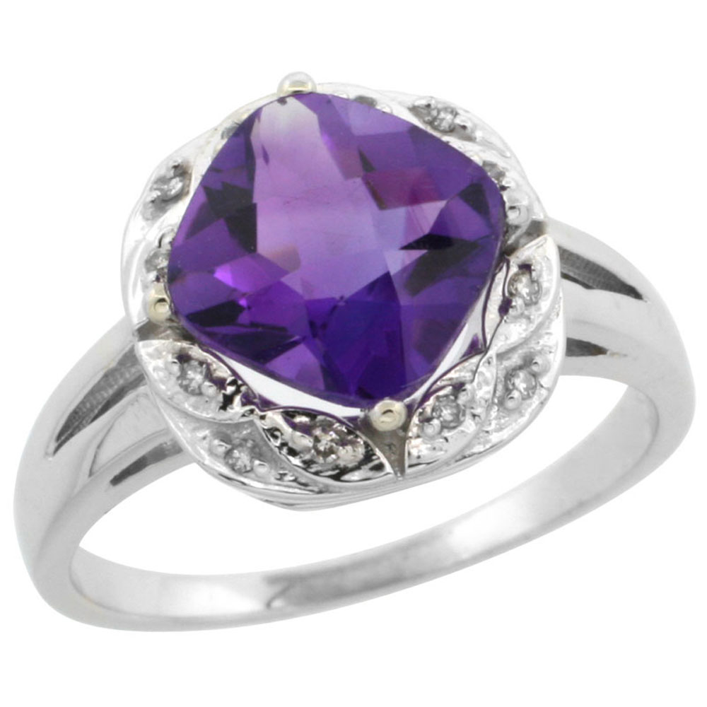 10k White Gold Diamond Halo Genuine Amethyst Ring Cushion-cut 8x8mm sizes 5-10