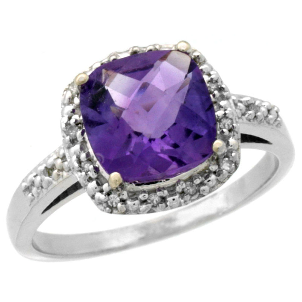 14K White Gold Diamond Natural Amethyst Ring Cushion-cut 8x8 mm, sizes 5-10