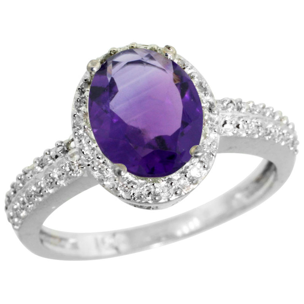 14K White Gold Diamond Natural Amethyst Ring Oval 9x7mm, sizes 5-10