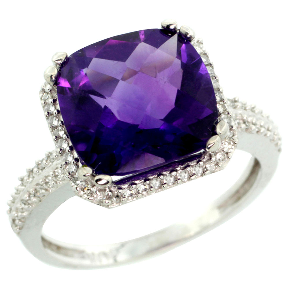 10k White Gold Diamond Halo Genuine Amethyst Ring Cushion-cut 11x11mm sizes 5-10