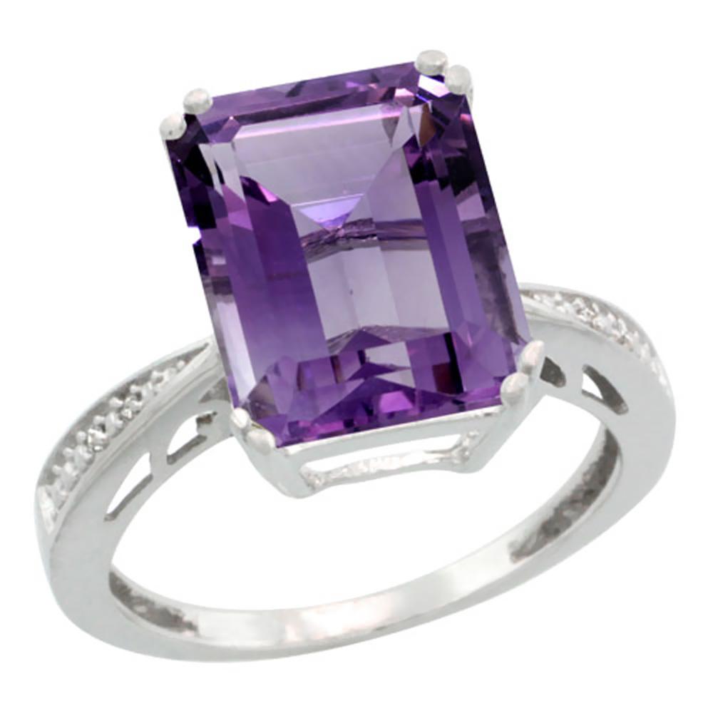 14K White Gold Natural Diamond Amethyst Ring Emerald-cut 12x10mm, sizes 5-10