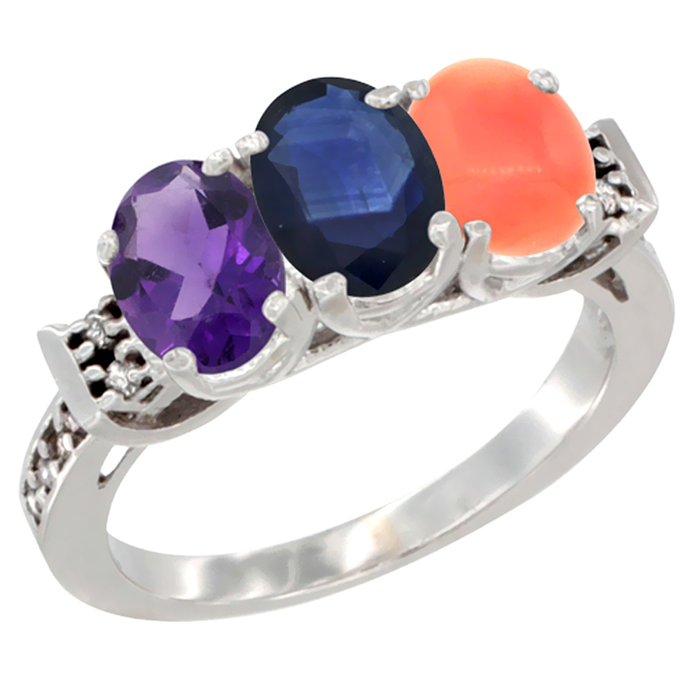 Sabrina Silver 14K White Gold Natural Amethyst, Blue Sapphire & Coral Ring 3-Stone 7x5 mm Oval Diamond Accent, sizes 5 - 10 at Sears.com