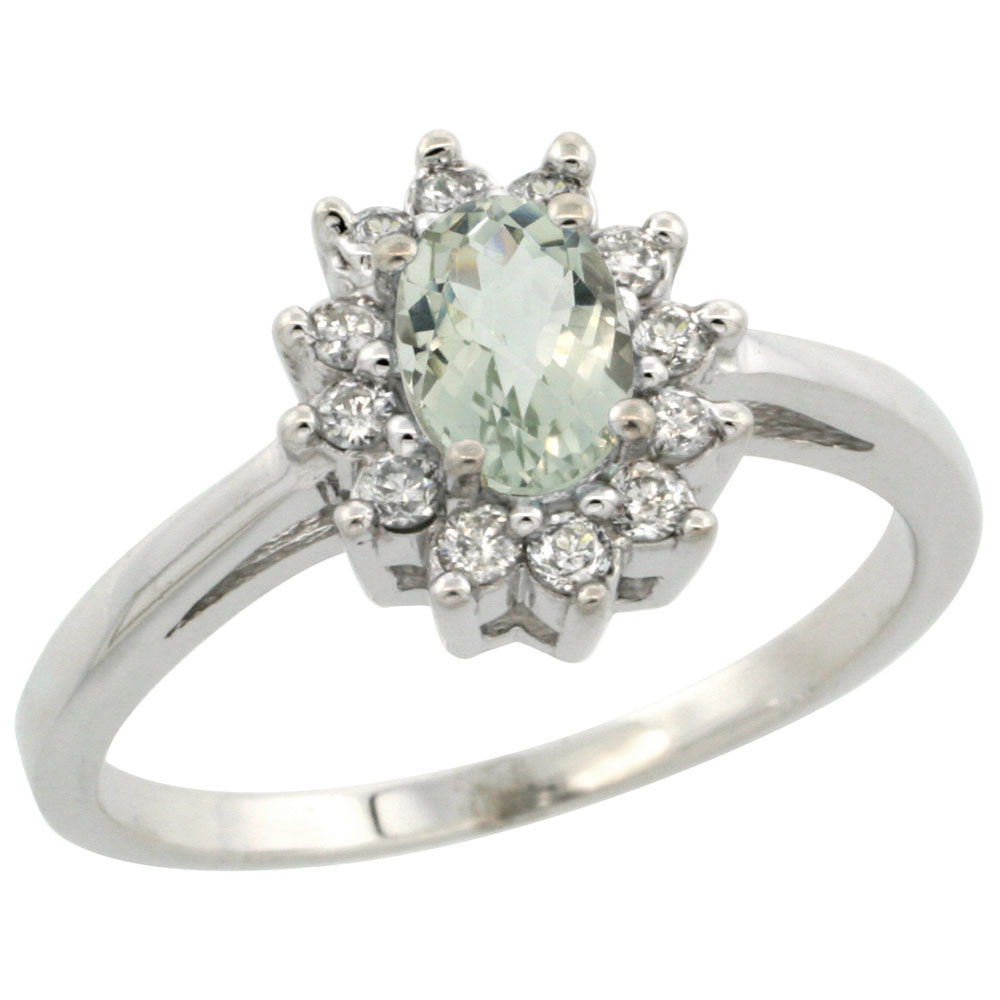 10K White Gold Natural Green Amethyst Flower Diamond Halo Ring Oval 6x4 mm, sizes 5-10