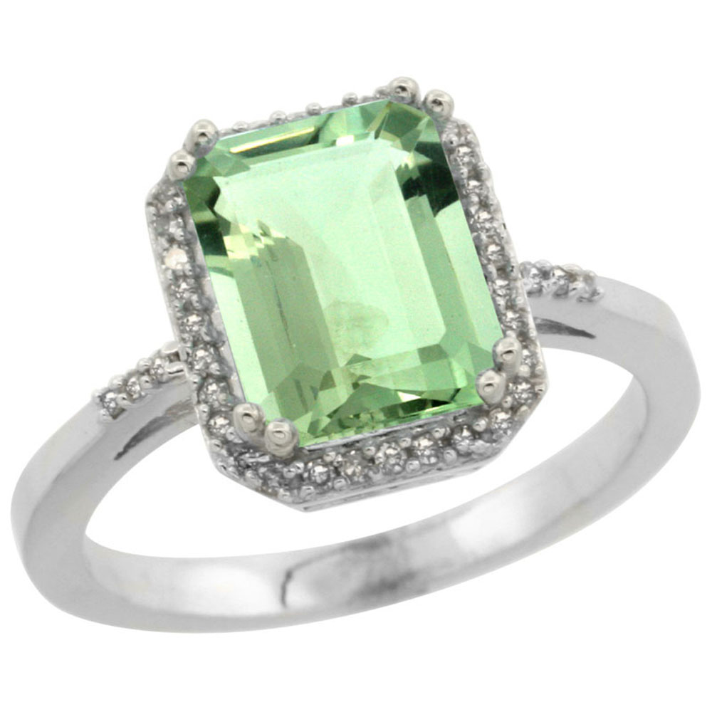14K White Gold Diamond Natural Green Amethyst Ring Emerald-cut 9x7mm, sizes 5-10