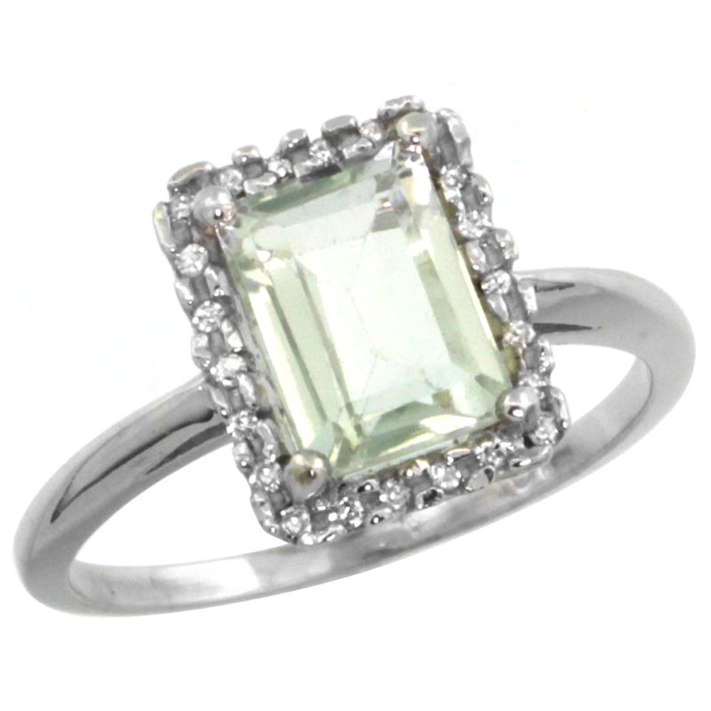 14K White Gold Diamond Natural Green Amethyst Ring Emerald-cut 8x6mm, sizes 5-10