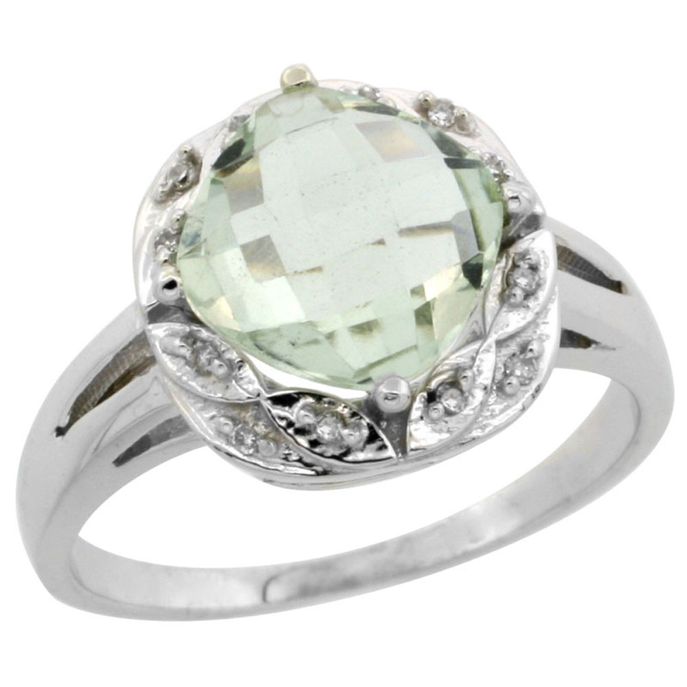 10k White Gold Diamond Halo Genuine Green Amethyst Ring Cushion-cut 8x8mm sizes 5-10