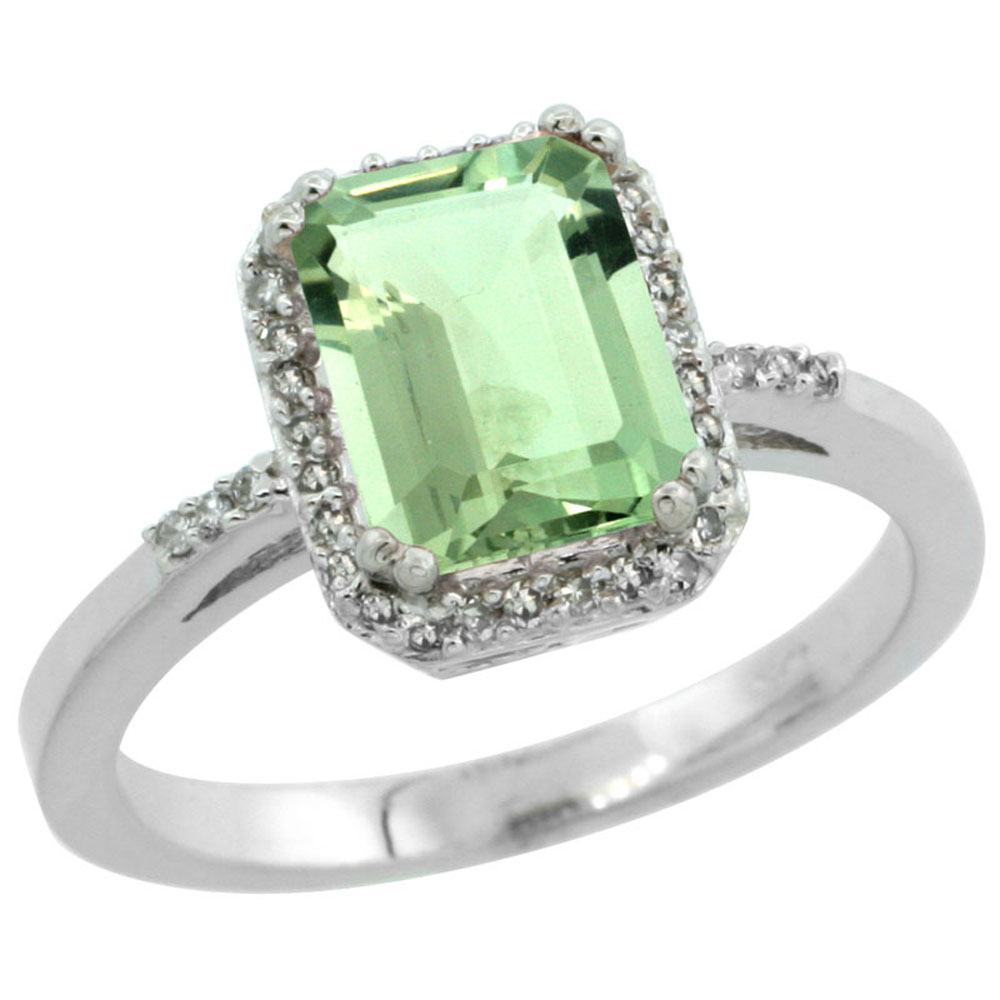 10K White Gold Diamond Natural Green Amethyst Ring Emerald-cut 8x6mm, sizes 5-10