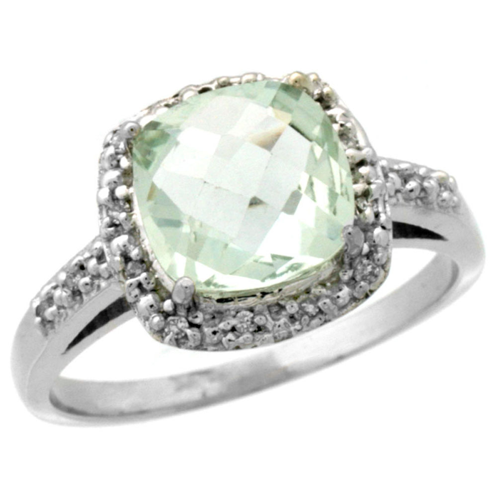 14K White Gold Diamond Natural Green Amethyst Ring Cushion-cut 8x8 mm, sizes 5-10