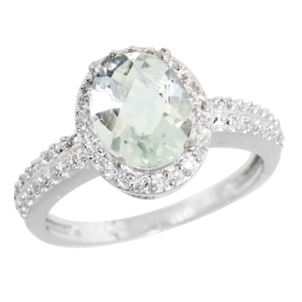 14K White Gold Diamond Natural Green Amethyst Ring Ring Oval 9x7mm, sizes 5-10