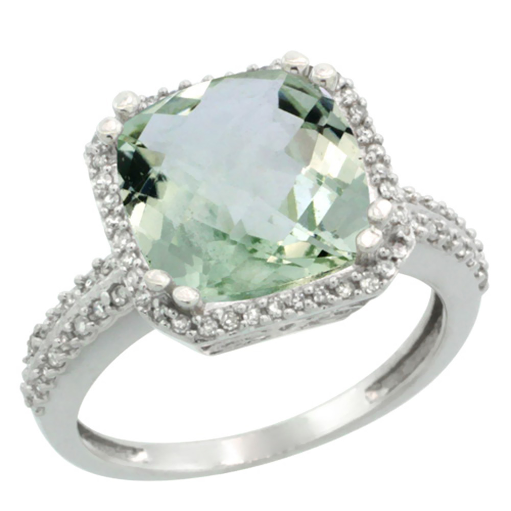 10k White Gold Diamond Halo Genuine Green Amethyst Ring Cushion-cut 11x11mm sizes 5-10