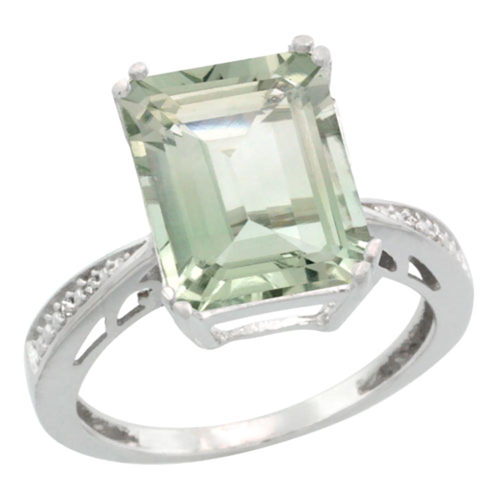 14K White Gold Natural Diamond Green Amethyst Ring Emerald-cut 12x10mm, sizes 5-10