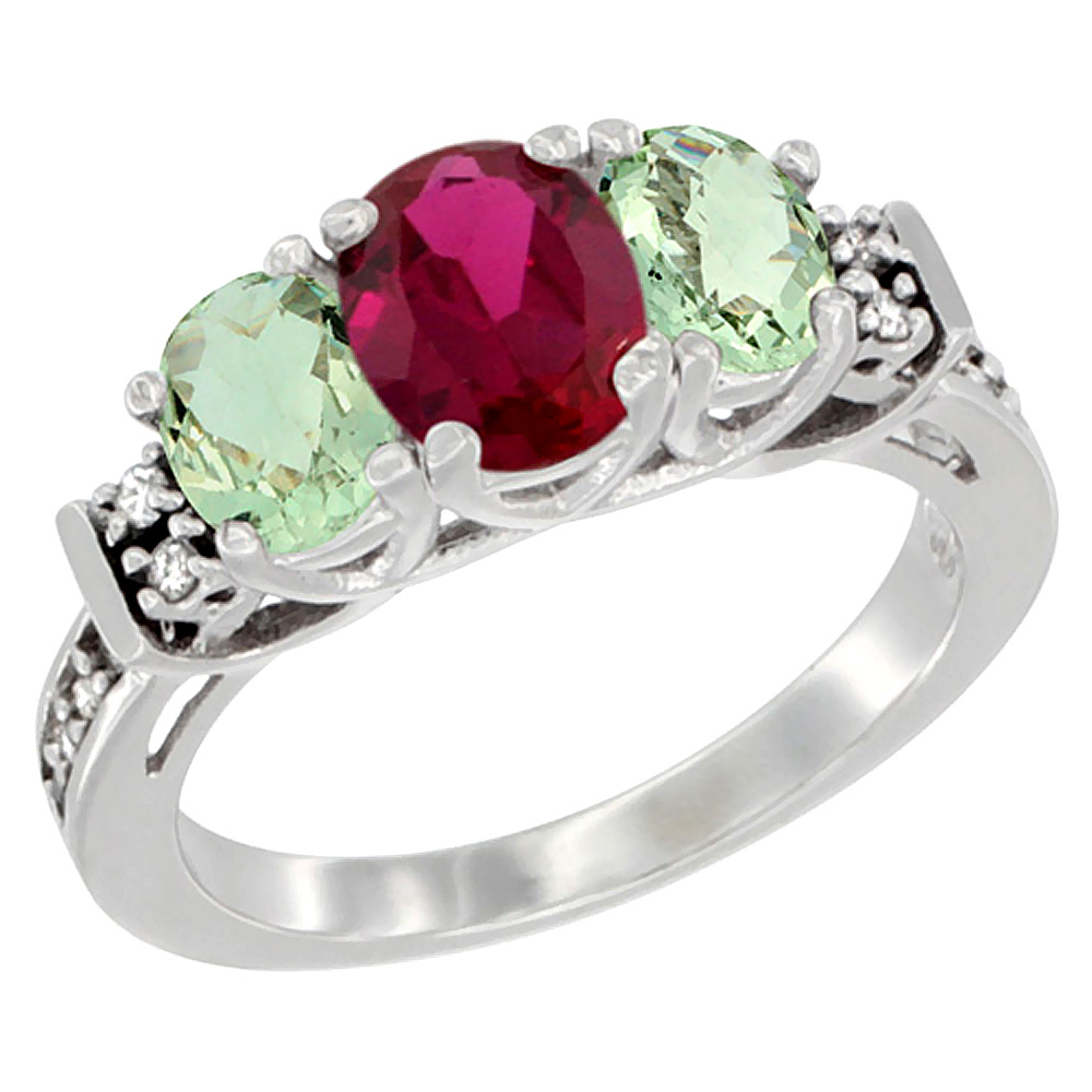Sabrina Silver 10K White Gold Natural HQ Ruby & Green Amethyst Ring 3-Stone Oval Diamond Accent, sizes 5-10 at Sears.com