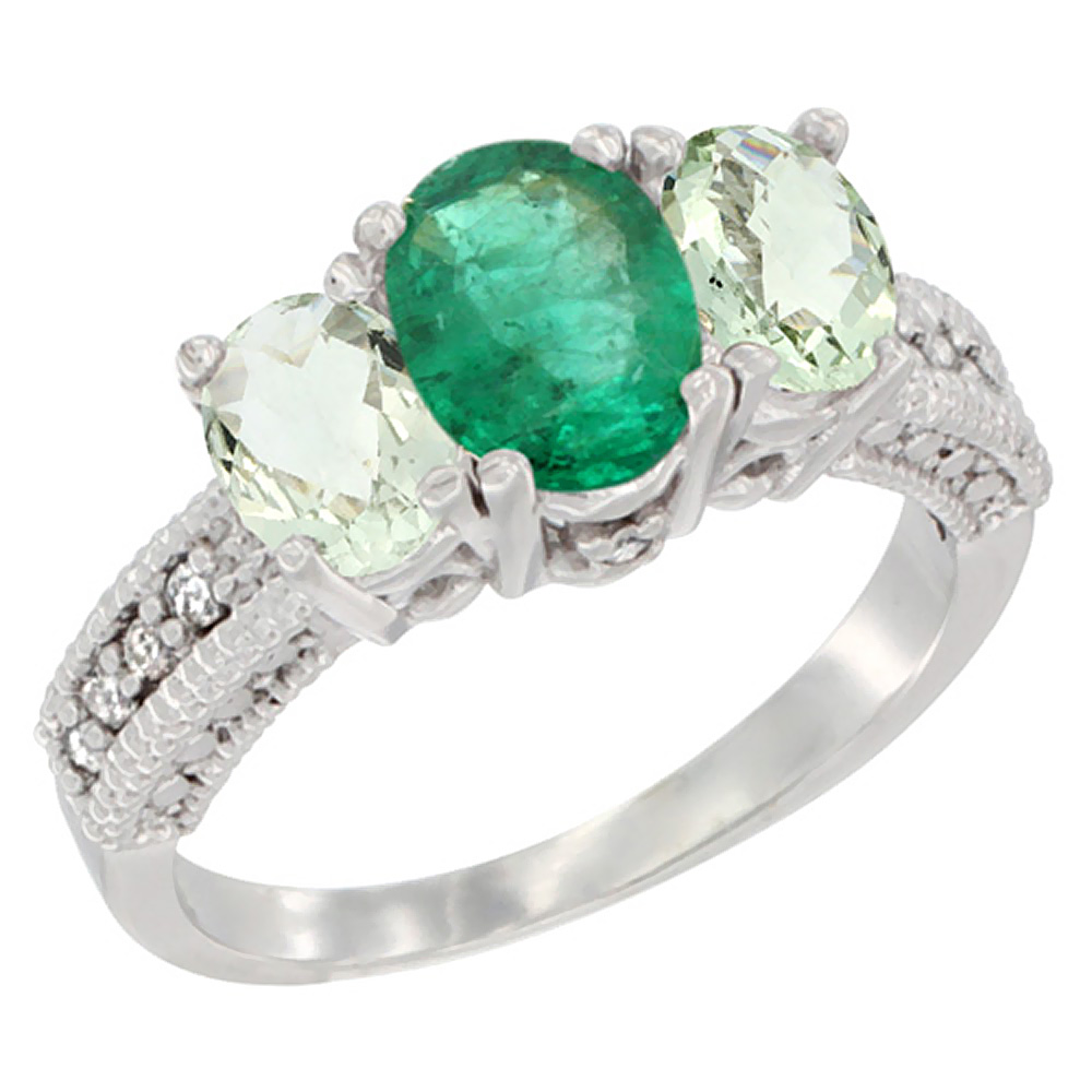 Sabrina Silver 10K White Gold Diamond Natural HQ Emerald Ring Oval 3-stone with Green Amethyst, sizes 5 - 10