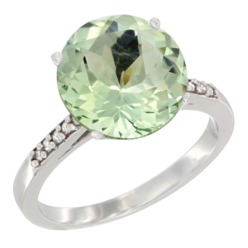 Sabrina Silver 10K White Gold Natural Green Amethyst Ring Round-shape Diamond accent, sizes 5 - 10 at Sears.com