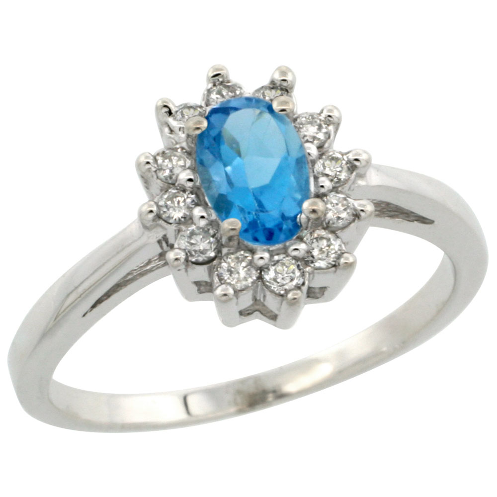 14K White Gold Natural Swiss Blue Topaz Flower Diamond Halo Ring Oval 6x4 mm, sizes 5-10