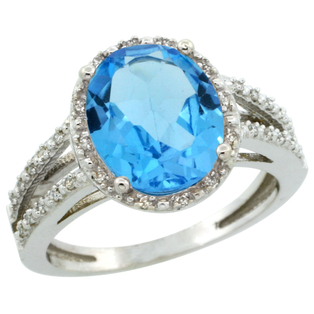 14K White Gold Natural Swiss Blue Topaz Diamond Halo Ring Oval 11x9mm, sizes 5-10