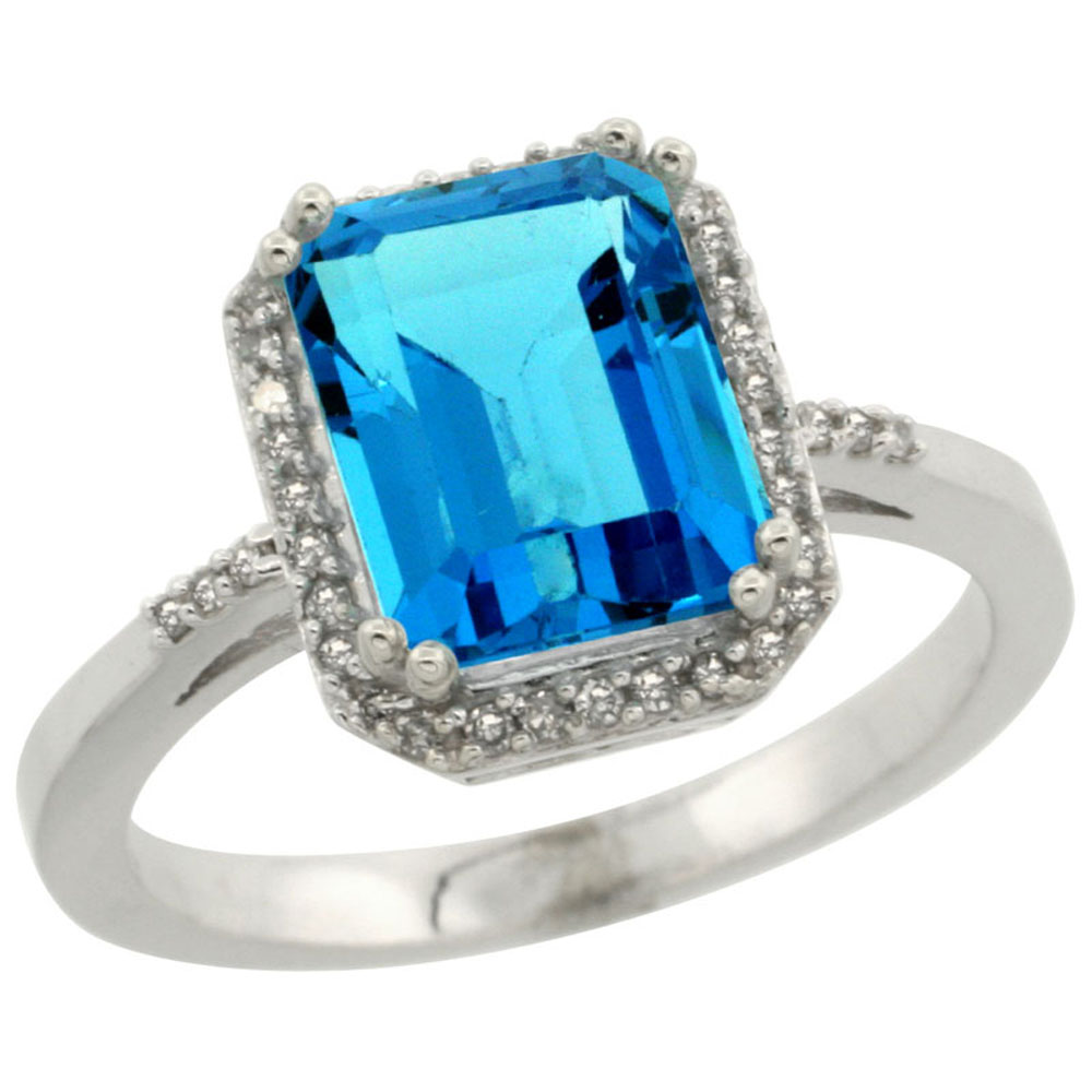 10K White Gold Diamond Natural Swiss Blue Topaz Ring Emerald-cut 9x7mm, sizes 5-10