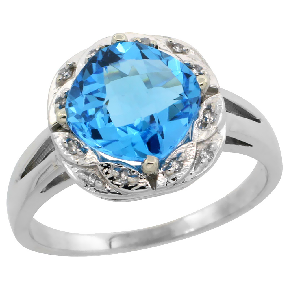 10k White Gold Genuine Blue Topaz Ring Cushion-cut 8x8mm Diamond Halo sizes 5-10
