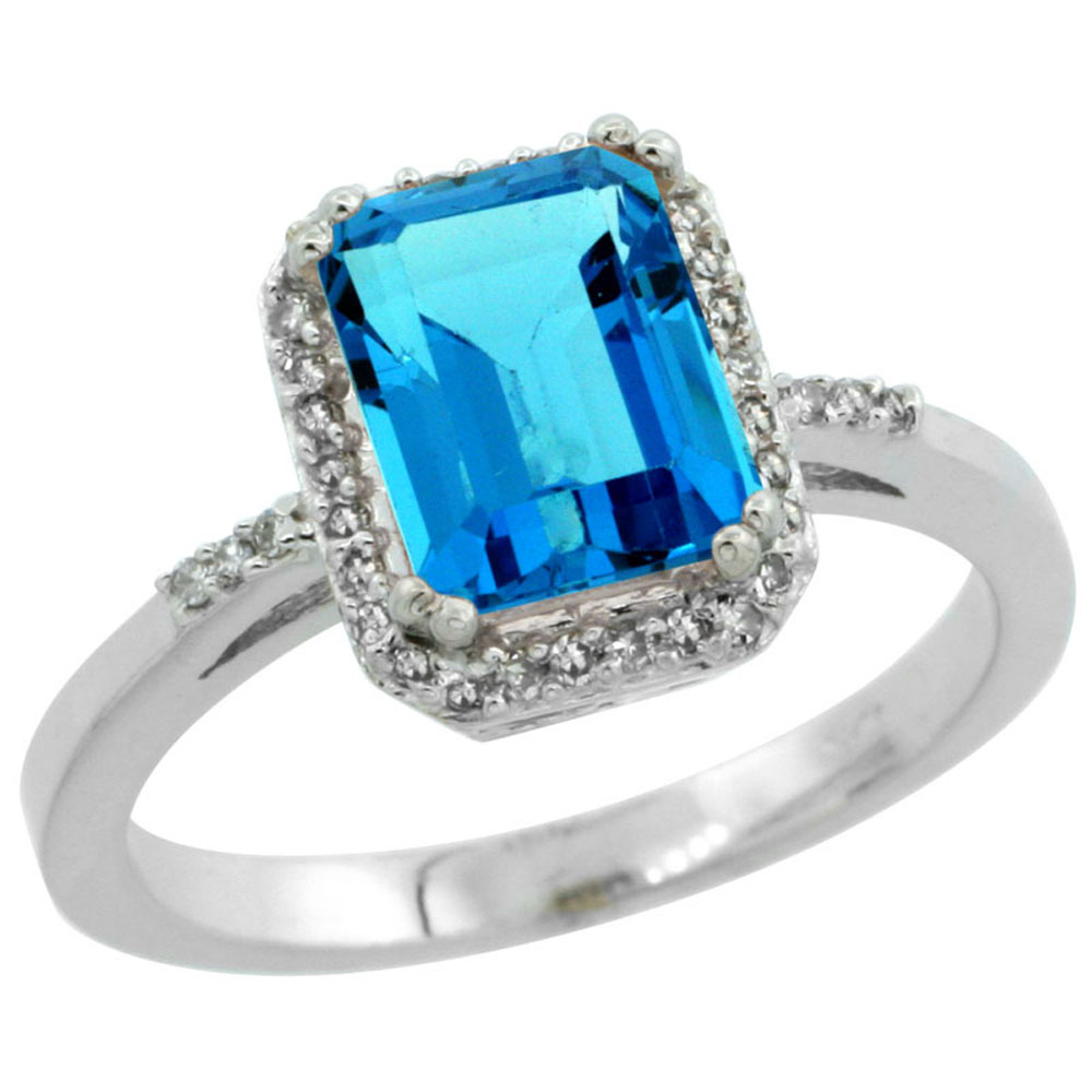 14K White Gold Diamond Natural Swiss Blue Topaz Ring Emerald-cut 8x6mm, sizes 5-10
