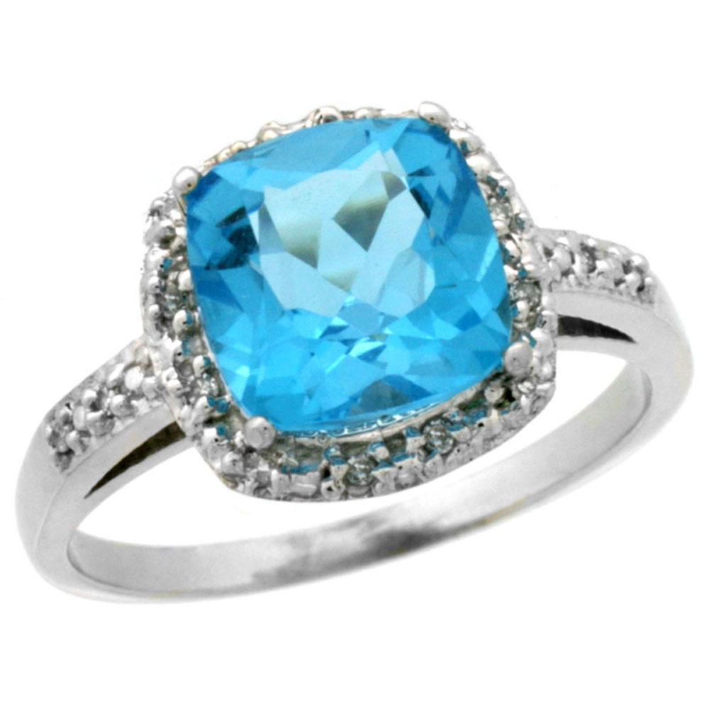 14K White Gold Diamond Natural Swiss Blue Topaz Ring Cushion-cut 8x8 mm, sizes 5-10
