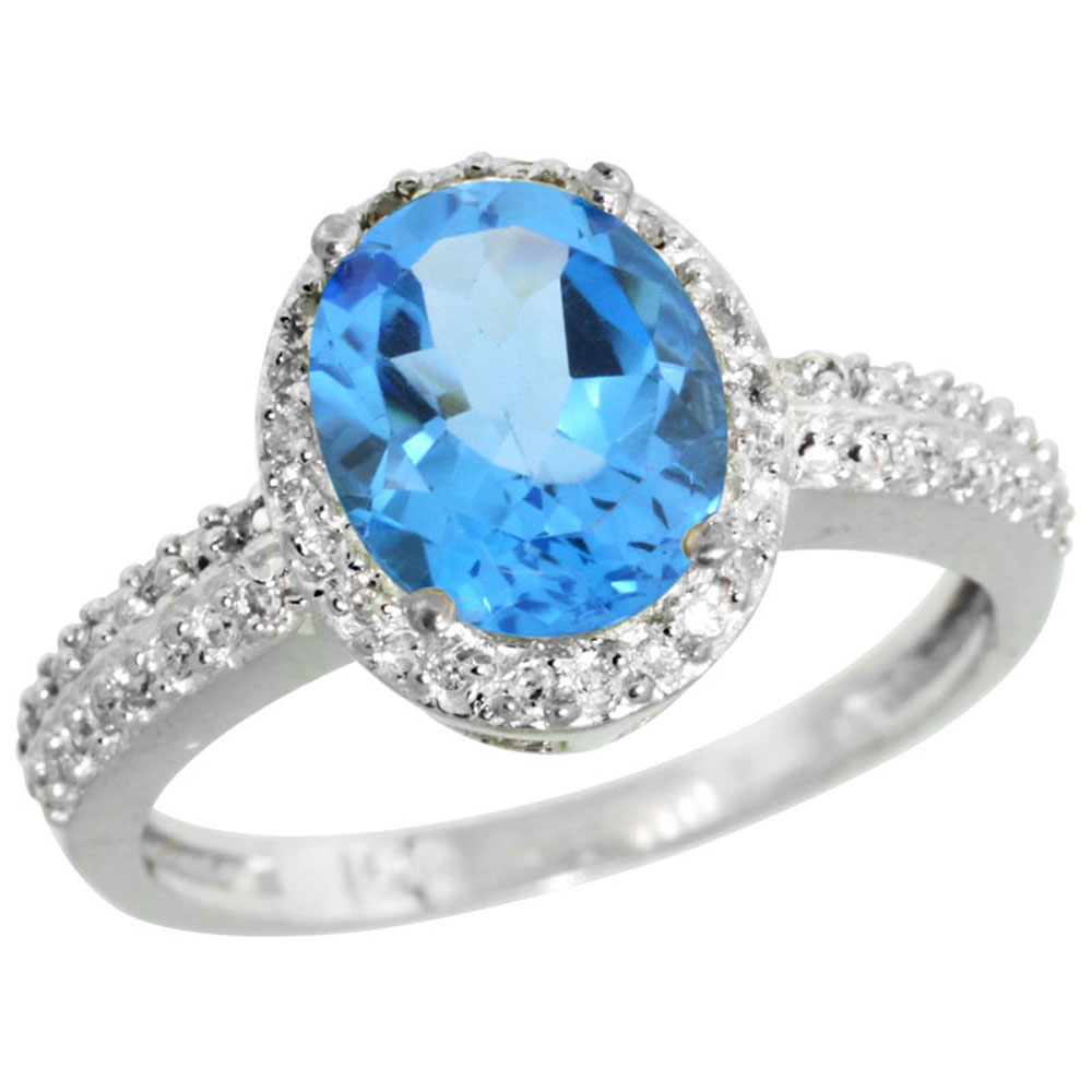 14K White Gold Diamond Natural Swiss Blue Topaz Ring Oval 9x7mm, sizes 5-10