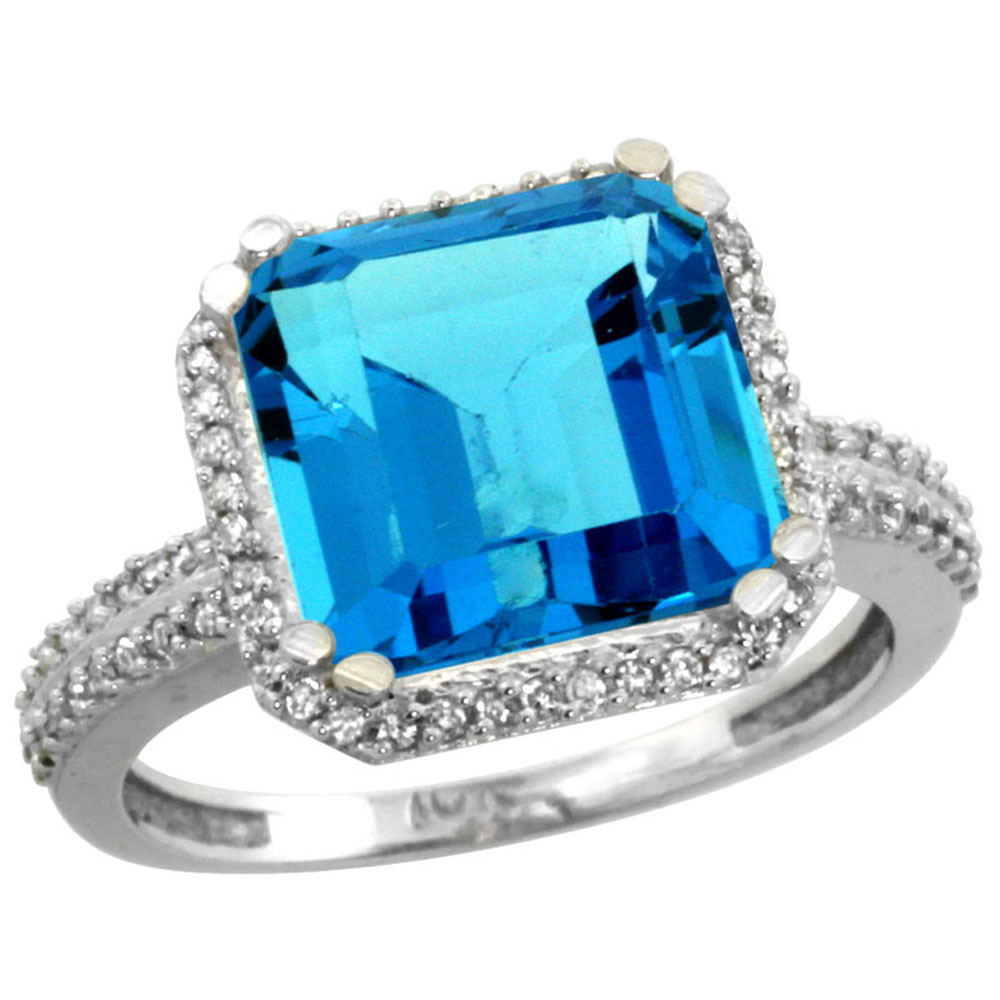 10k White Gold Genuine Blue Topaz Ring Cushion-cut 11x11mm Diamond Halo sizes 5-10