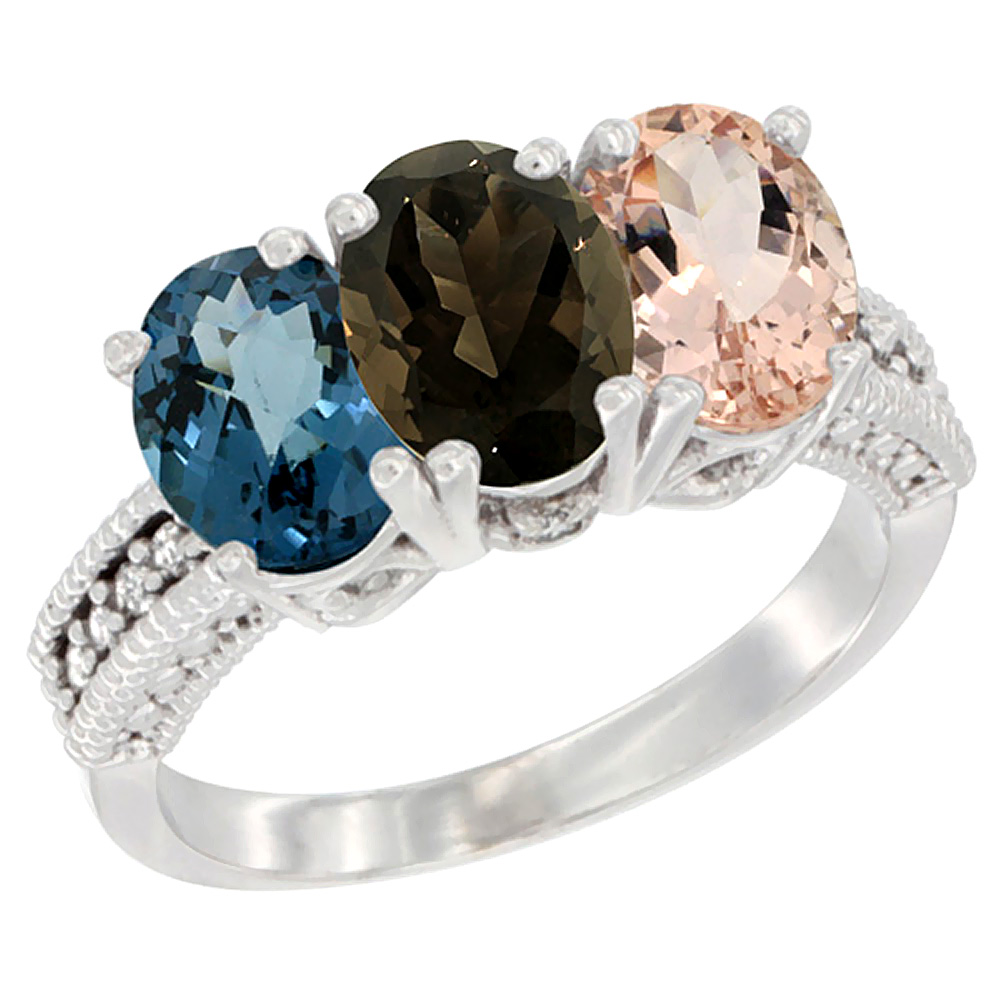 Sabrina Silver 14K Yellow Gold Natural London Blue Topaz, Smoky Topaz & Morganite Ring 3-Stone 7x5 mm Oval Diamond Accent, sizes 5 - 10 at Sears.com