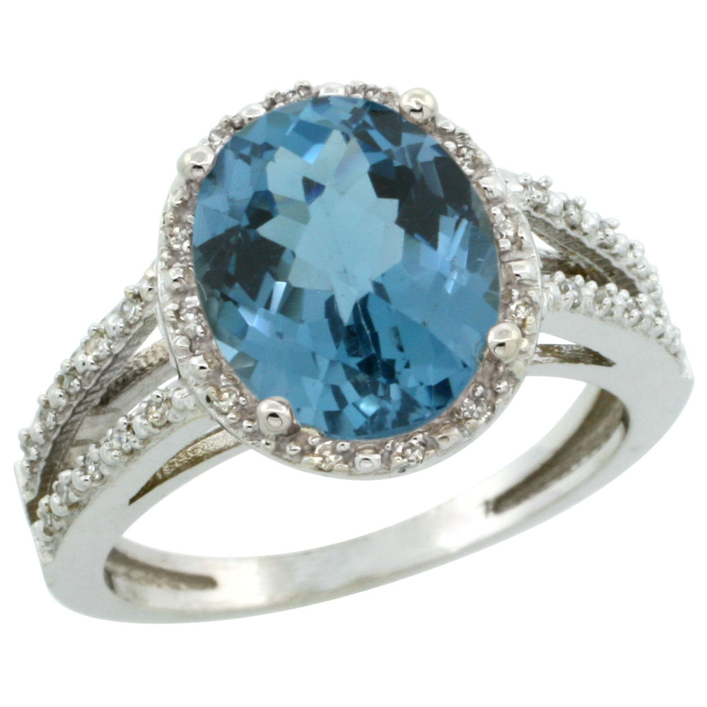14K White Gold Natural London Blue Topaz Diamond Halo Ring Oval 11x9mm, sizes 5-10