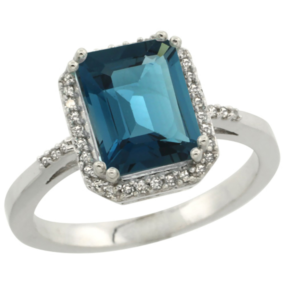 10K White Gold Diamond Natural London Blue Topaz Ring Emerald-cut 9x7mm, sizes 5-10