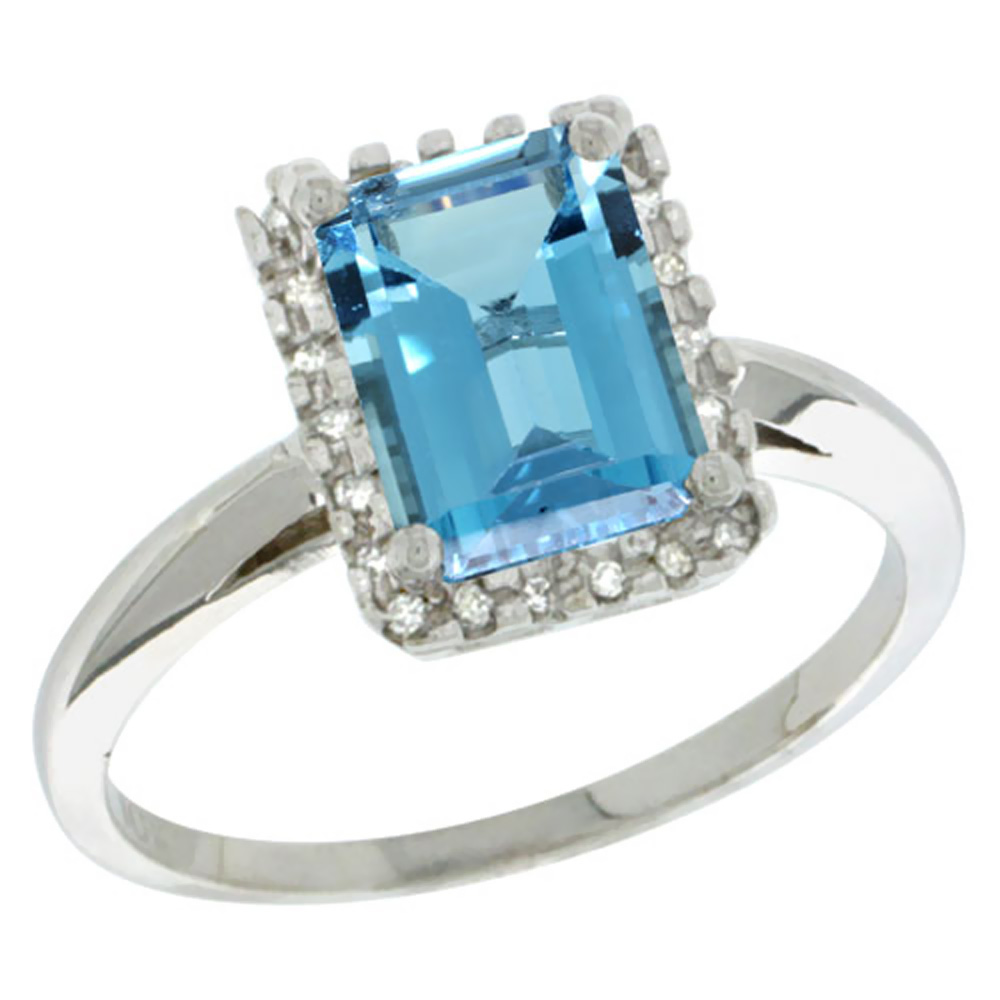 14K White Gold Diamond Natural London Blue Topaz Ring Emerald-cut 8x6mm, sizes 5-10