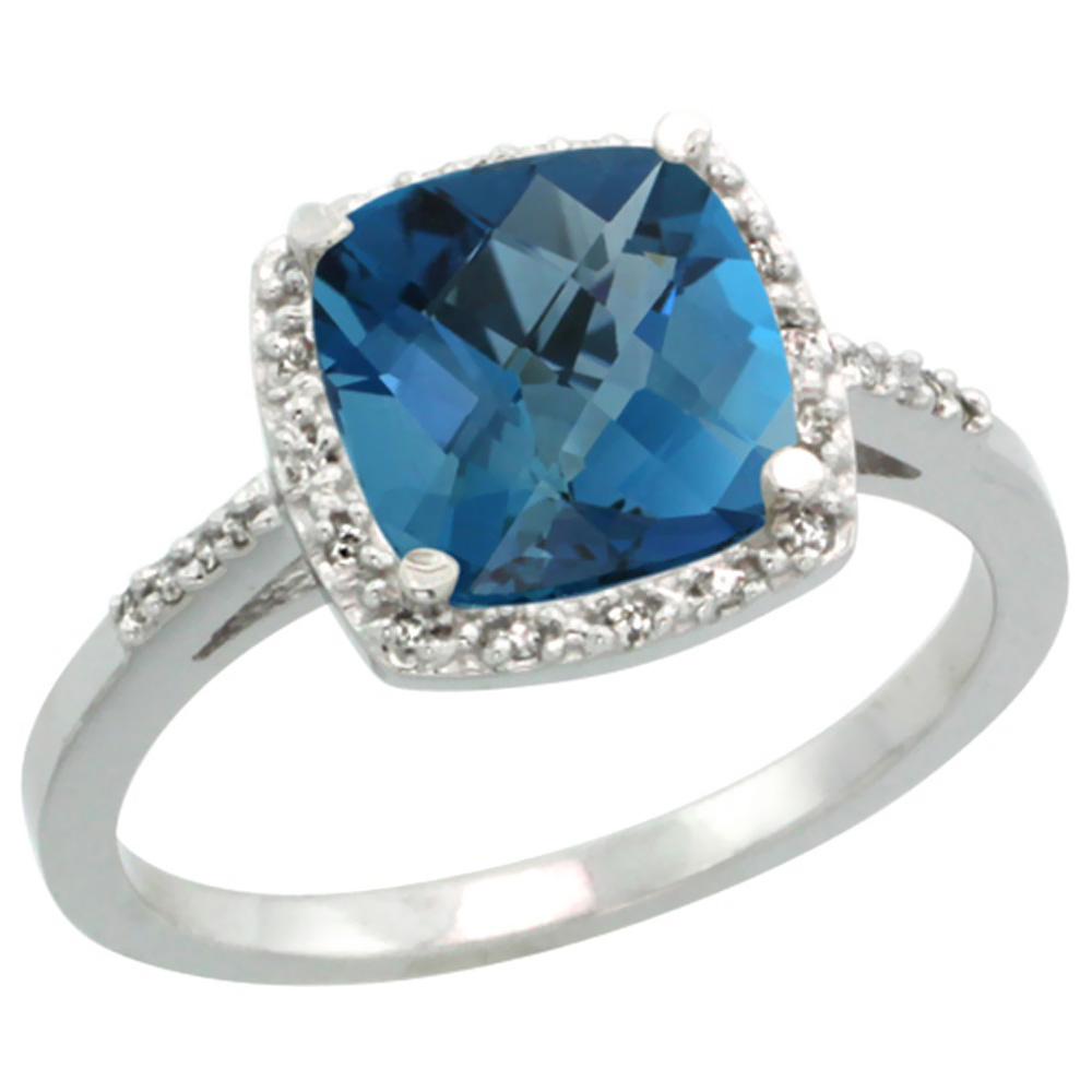 14K White Gold Diamond Natural London Blue Topaz Ring Cushion-cut 8x8 mm, sizes 5-10