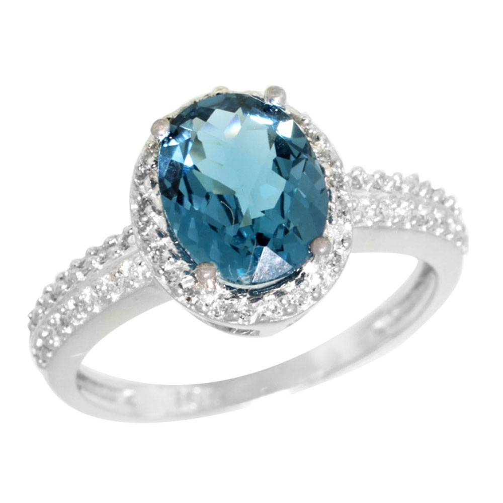 14K White Gold Diamond Natural London Blue Topaz Ring Oval 9x7mm, sizes 5-10