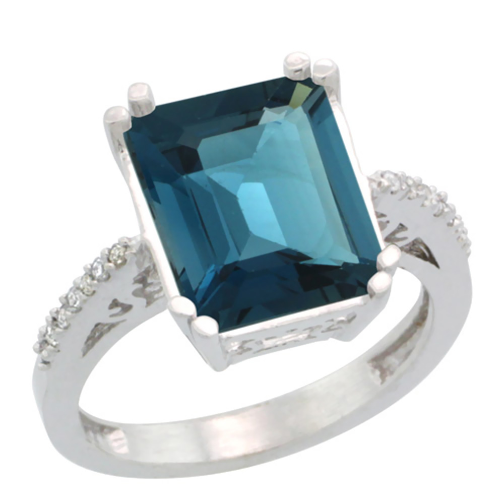 Sabrina Silver 10k White Gold Diamond London Blue Topaz Ring 5.83 ct Emerald Shape 12x10 Stone 1/2 inch wide, sizes 5-10 at Sears.com