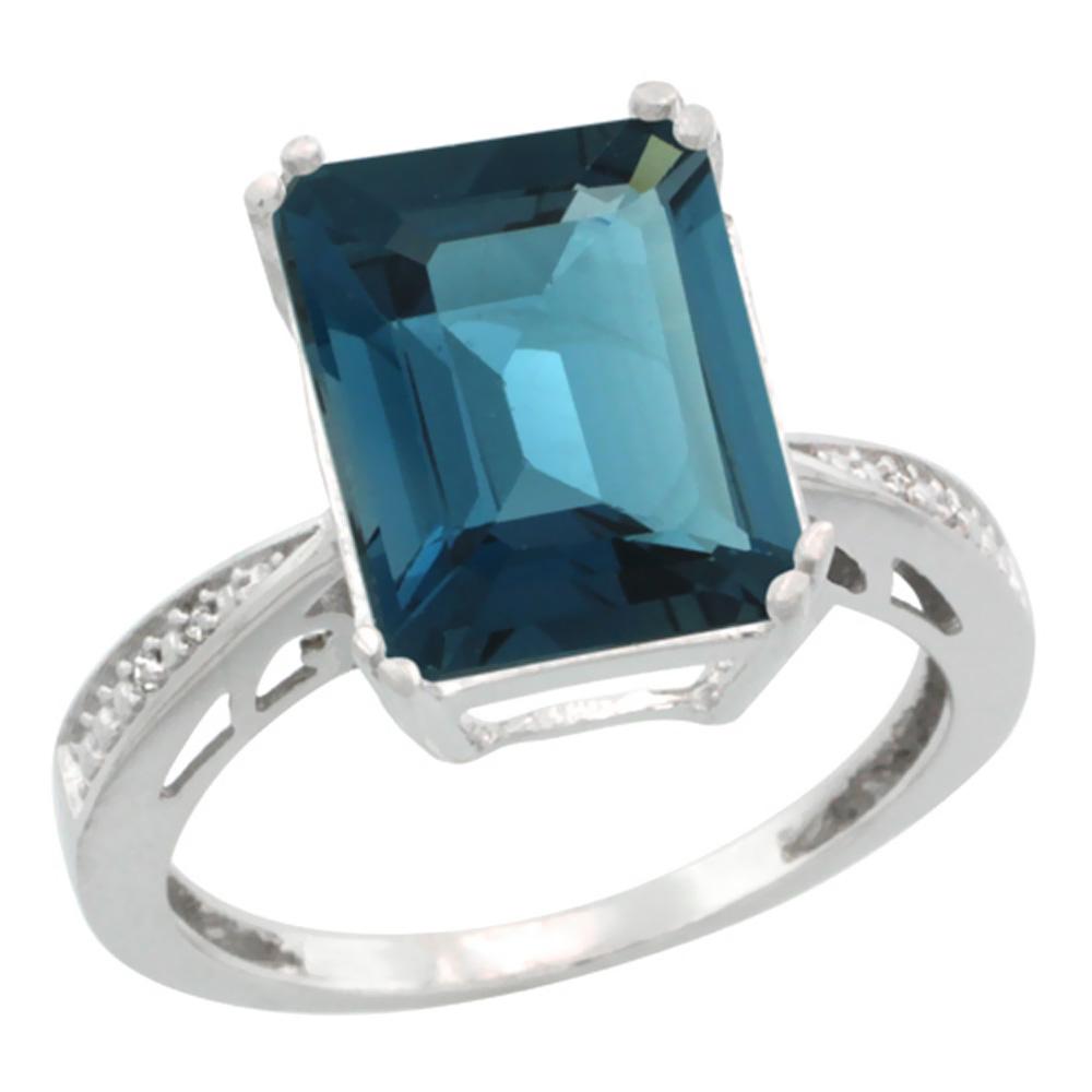 14K White Gold Diamond Natural London Blue Topaz Ring Emerald-cut 12x10mm, sizes 5-10
