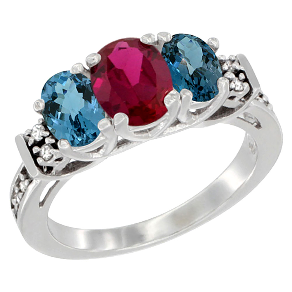 Sabrina Silver 10K White Gold Natural HQ Ruby & London Blue Ring 3-Stone Oval Diamond Accent, sizes 5-10 at Sears.com