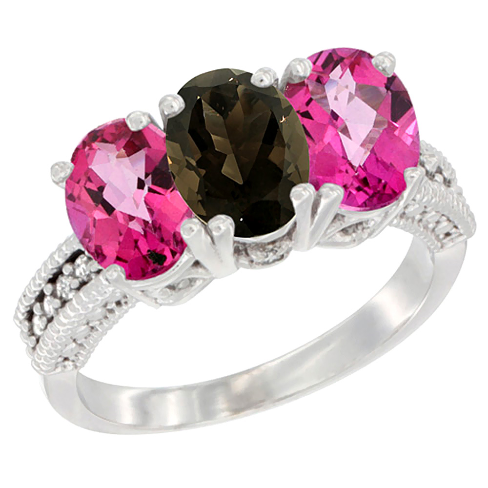 Sabrina Silver 10K White Gold Natural Smoky Topaz & Pink Topaz Sides Ring 3-Stone Oval 7x5 mm Diamond Accent, sizes 5 - 10 at Sears.com