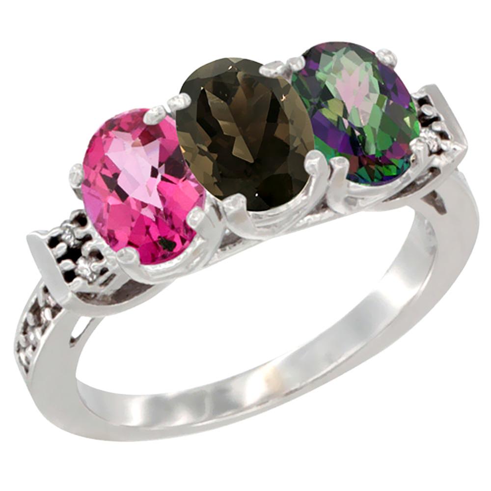 Sabrina Silver 14K White Gold Natural Pink Topaz, Smoky Topaz & Mystic Topaz Ring 3-Stone 7x5 mm Oval Diamond Accent, sizes 5 - 10 at Sears.com